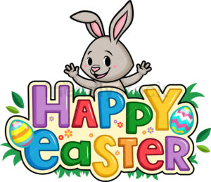 Royalty-free stock illustration of an excited cute bunny behind an Happy Easter sign.